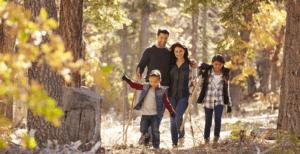 Marche en forêt en famille
