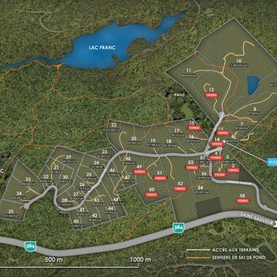 plan des terrains de la Réserve Morin-Heights